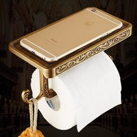 European gold antique paper roll holder creative Bathroom toilet paper holder WC kitchen paper holder brass FREE SHIPPING