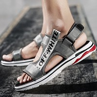 OFF-WHITE 2018 summer new trend men's sandals fashion breathable men's shoes F0350-1 grey