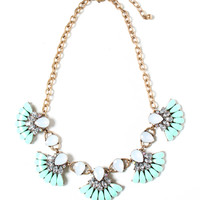 Pearly Lights Bib Necklace - Mint
