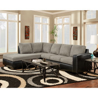 Exceptional Designs Sensation Grey Microfiber L-Shaped Sectional