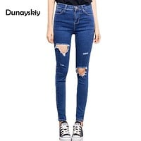 Spring 2018 New holes ripped jeans Women jeggings cool denim high waist pants Slim Female skinny black casual denim trousers