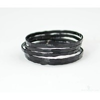 Super Thin Black Silver Stackable Ring