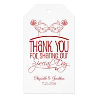 Red Kissing Birds Wedding Thank You Tags Pack Of Gift Tags