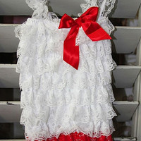 CPR025 Romantic Red And White Baby Romper - LAST CALL