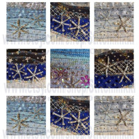 """2.25"""" square tiles - Instant Download Snowflakes - digital collage sheet - beaded snowflakes"""