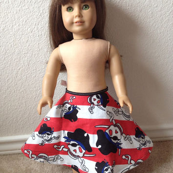 Red and White Striped Pirate doll skirt : fits most 18 in dolls