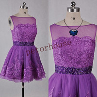 Purple Lace Short Prom Dresses with Peacock Necklace,Formal Beaded Prom Dresses,Party Dresses,Bridesmaid Dresses,Wedding Party Dresses