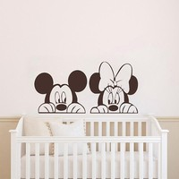 Mickey Minnie Mouse Wall Sticker For Kid Room Cartoon Animals Wall Decals Decoration Baby Bedroom Nursery Decor Art Poster ZX558