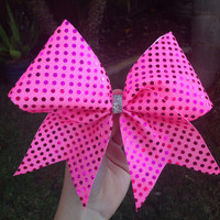 Hot Pink Dotted Cheer Bow