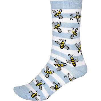 River Island Womens Blue novelty striped bee print socks