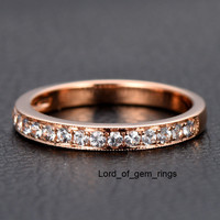 Pave White Sapphire Wedding Band Half Eternity Anniversary Ring 14K Rose Gold