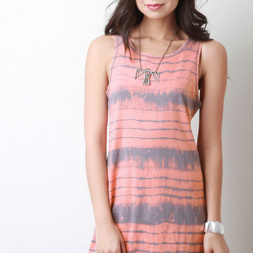Sleeveless Tie-Dye Shift Dress