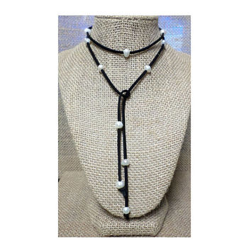 Boho Suede Leather Fresh Water Pearl Loose Ends Multi Wrap Lariat Choker Necklace, Bracelet, Anklet - Chic, gift YOU CHOOSE Color Cord