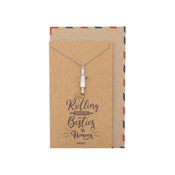 Milana Rolling Pin Cremation Pendant Necklace, 100% Handmade - Silver Tone