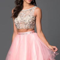 Short Two Piece Jewel Embellished Prom Dress