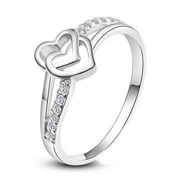 Magicpieces Women's Alloy Double Hearts Upper Plated AAA High Quality CZs Smooth Surface Ring DP 0422