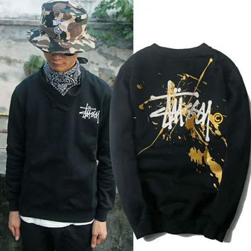 STUSSY hip hop buffing ink and velvet sweater F-YQ-ZLHJ