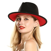 Black Red Patch2020 new work Wool Felt Floppy Jazz Fedoras Hats with Ribbon band wide brim Panama trilby Formal hat