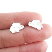 Small Baby Elephant Shaped Stud Earrings in Silver | Animal Jewelry