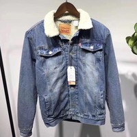 Levi¡¯s Fashion Cashmere Denim Jacket Coat-1