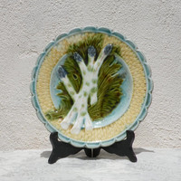French antique majolica asparagus plate, French ironstone, asparagus plate, majolica plate, barbotine plate antique wall plate antique plate