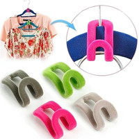 10PCS New Mini Home Creative Flocking Clothes Hanger Hook Closet Organizer Random Color = 1646038788