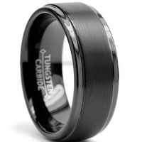 8MM Black High Polish / Matte Finish Men's Tungsten Ring Wedding Band Size 9