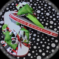 Custom Boutique Girls Disney Christmas Vacation MINNIE MICKEY MOUSE Ribbon Flip Flops Hair Bow Clip m2m bows for your toes sizes 8 9 10 11 12 13 1 2