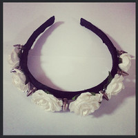 White Spike Rose Headband by TeacupRose on Etsy