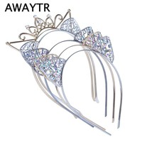 AWAYTR Hair Accessories Crystal Cat Ears Hair Hoop Headband Women Shiny Rhinestone Cats Ear Hair Bands Halloween Headwear