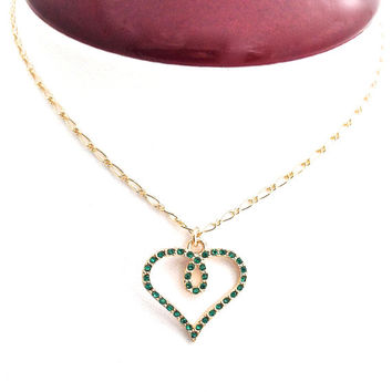 Heart Necklace, Emerald Green, May Birthstone, Heart Outline, Simple Heart, Gold Necklace, Delicate Chain, May Birthday Gift,  Anniversary