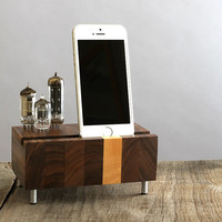 Universal dock for iPhone Samsung Galaxy handcrafted butcher block from walnut wood with triple electron tubes