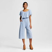 Women's Sleeveless Ruffle Jumpsuit Light Denim - Le Kate (Juniors') : Target