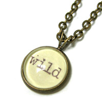 Wild Word Mini Pendant Brass Setting Library Card Necklace One of a Kind