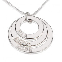 Sterling Silver Three Ring Engraved Mother Necklace