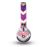 The Purple Scratched Texture Chevron Zigzag Pattern Skin for the Beats by Dre Mixr Headphones