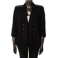 INC Womens Plus French Terry Open Front Jacket