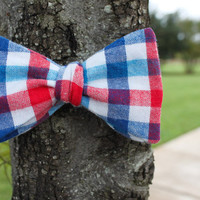 Flannel Plaid Red White and Blue - Men's Adjustable Self Tie Bow Tie