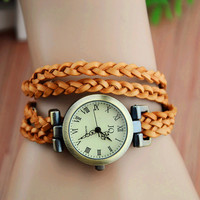 Vintage Solid Color Leather Wrap Watch