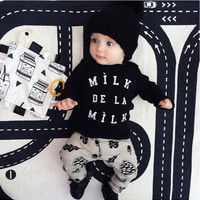 2017 Autumn New baby boy clothes s Fashion cotton long-sleeved Letter milk T-shirt+pants Newborn baby girl clothing set