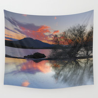 Trees in the water at the red sunset Wall Tapestry by Guido Montañés