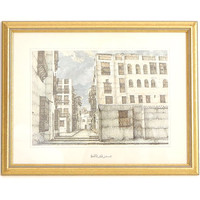 Vintage Framed Arabian Lithograph - Old Jeddah Architecture Print- A Blind Alley In Old Town Jeddah