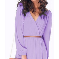 Lavender Lilac Purple Tulip Hem Wrap Over Mini Elastic Waist Long Sleeve Chiffon Dress - Back in Stock!