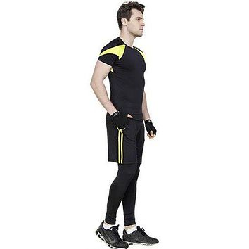 3 Pcs Men Patchwork Tops And Shorts And Pants Fitness Set
