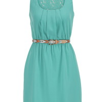 Lace Upper Back Dress With Embroidered Belt - Sea Green