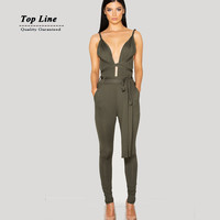 Plus Size 2015 Summer rompers womens jumpsuit Sleeveless Deep Spaghetti Strap V Neck solid bodycon Playsuit