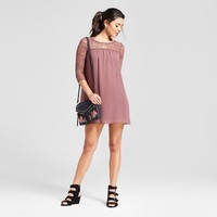 Women's Lace Yoke 3/4 Sleeve Dress - Lily Star® (Juniors') Mauve