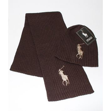 Polo supply brand scarf hat two sets of men and women POLO foreign trade scarves suit Brown