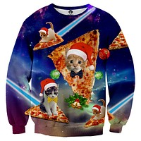 Christmas Cat Pizza Ugly Christmas Sweater