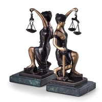Lady Justice Lawyer Profession Metal Bookends 8.75H